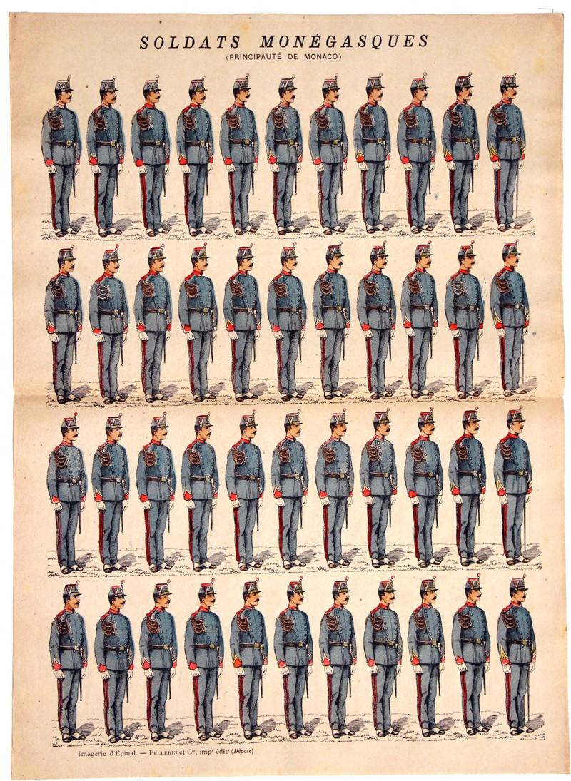Planche Imagerie Epinal - Pellerin - Armée Principauté de Monaco - Infanterie