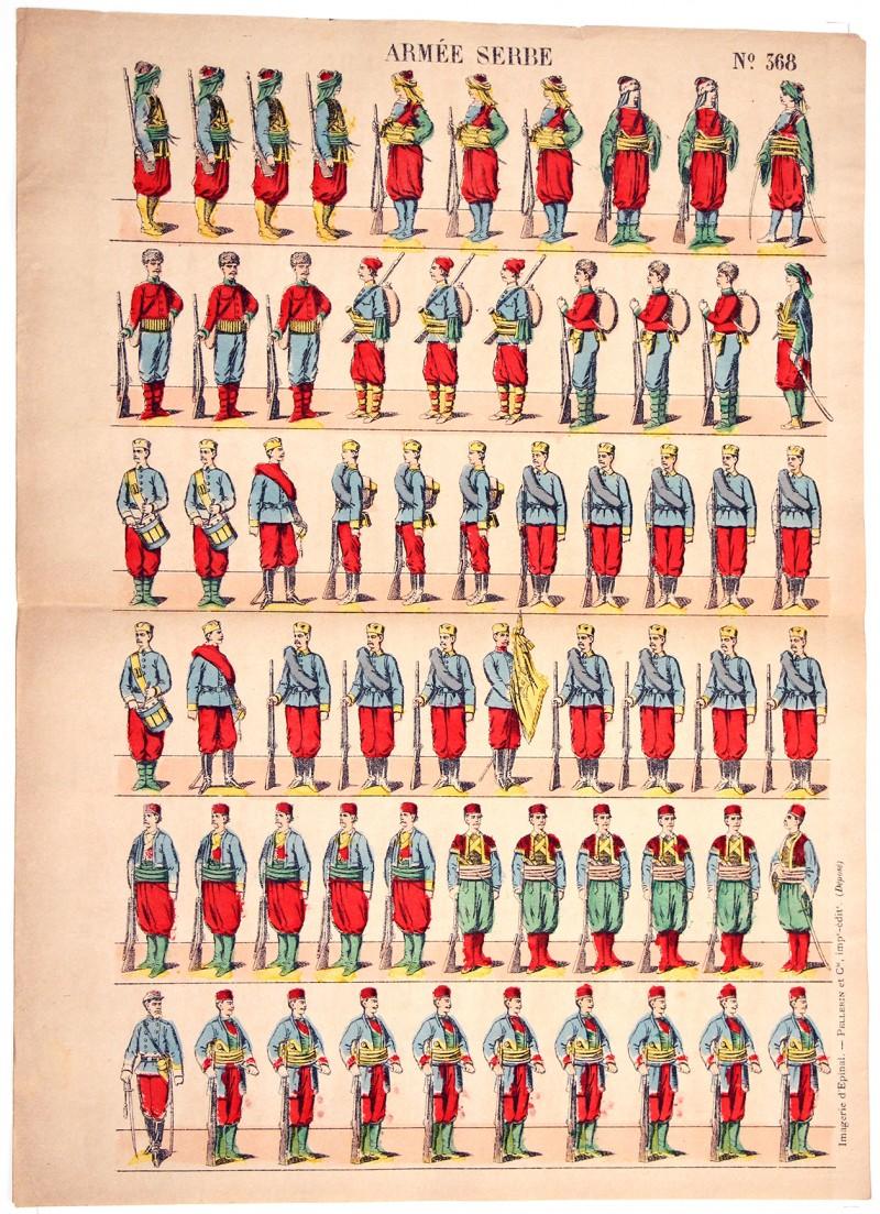 2 Planches Nouvelle Imagerie Epinal - Olivier Pinot - Armée Serbe - Infanterie