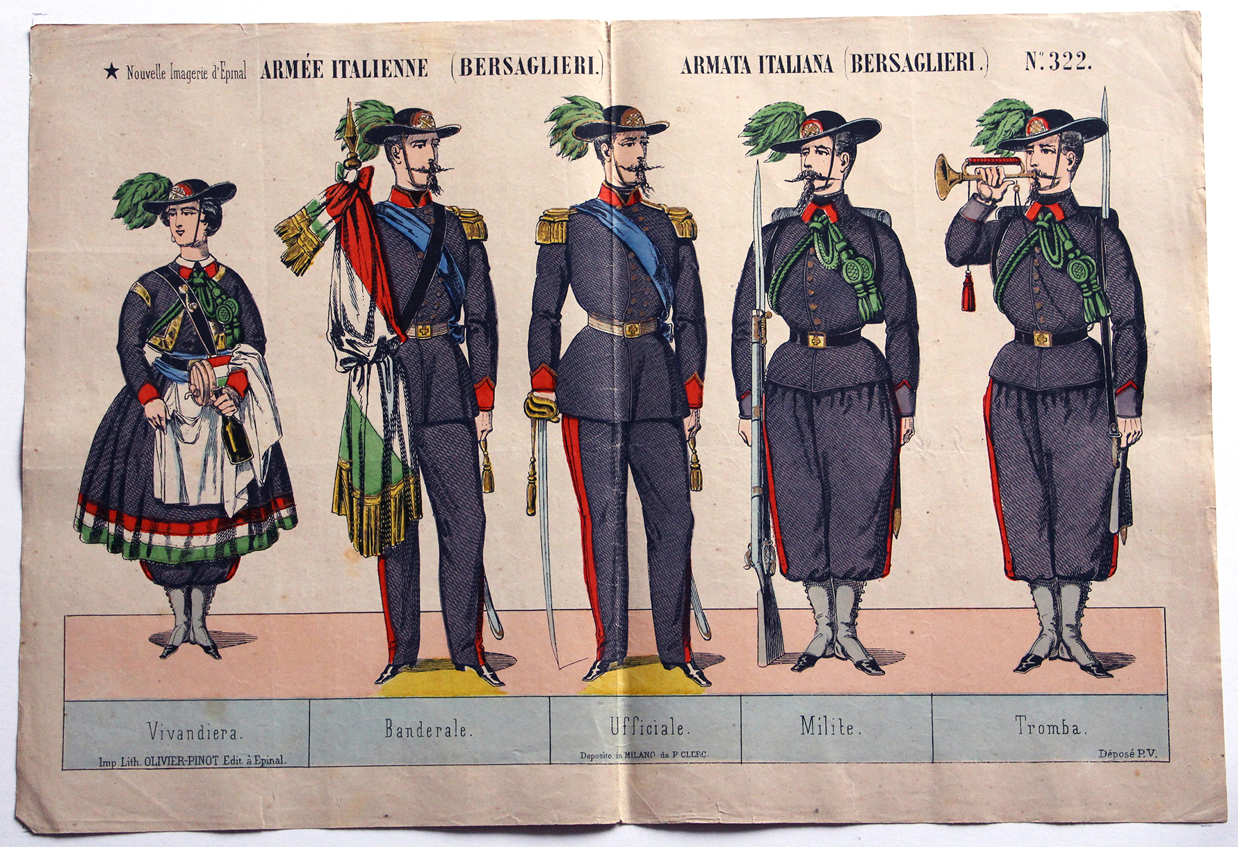 Planches Nouvelle Imagerie Epinal - Olivier Pinot Editeur - N°322 - Armée Italienne - Bersaglieri