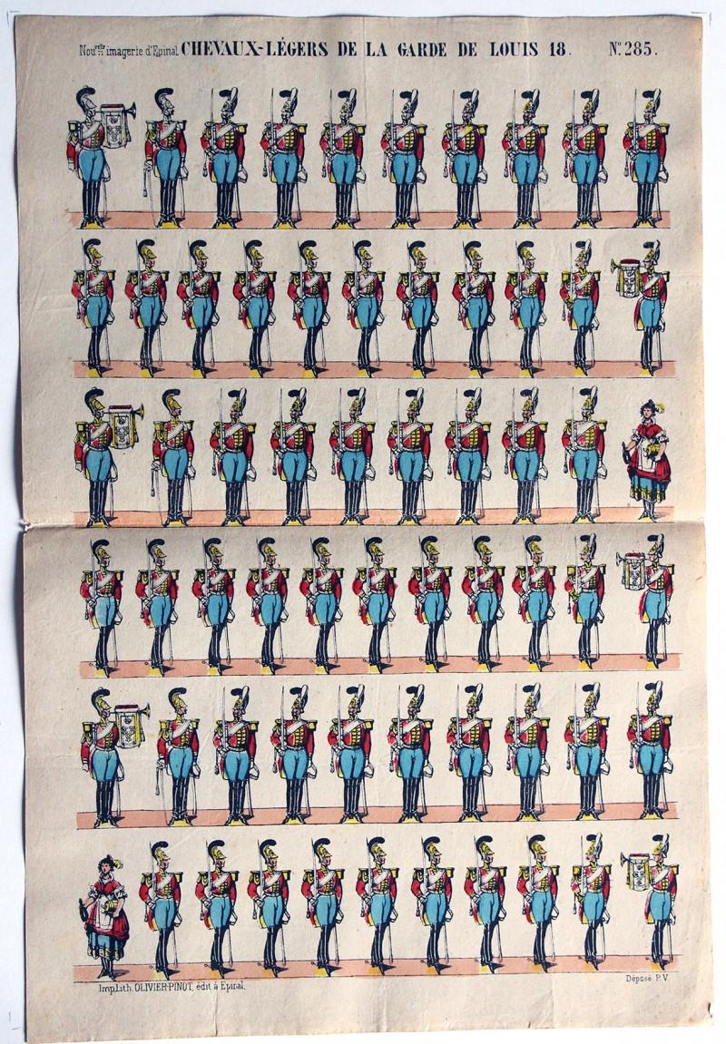 Planche Nouvelle Imagerie Epinal - Chevaux-legers de la Garde de Louis XVIII - N°285