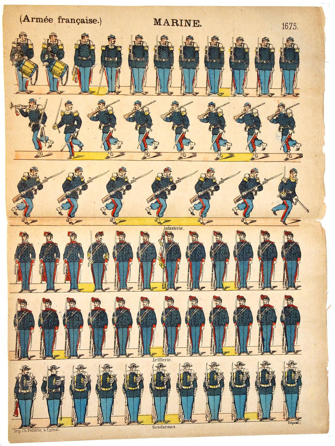Planche Imagerie Epinal - Pellerin - N°1675 - Infanterie de Marine - Armée Française