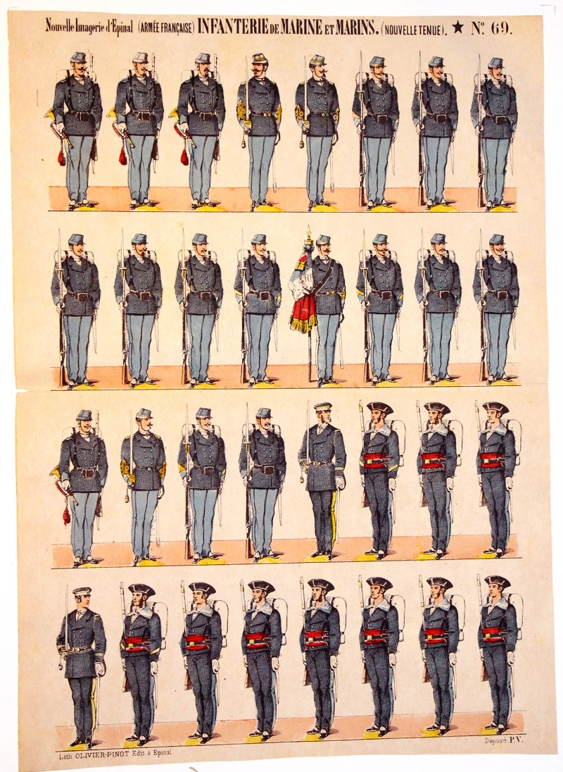 Planche Nouvelle Imagerie Epinal - Pinot Editeur - N°69 - Marins et infanterie de Marine - Armée Française