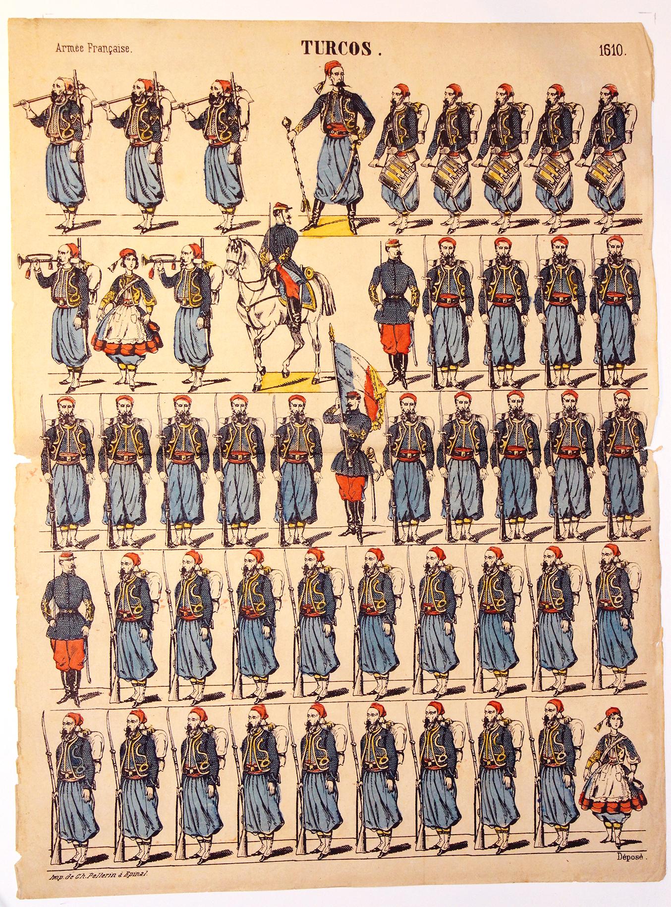 Planche imagerie Epinal - Pellerin Editeur - N°1610 - Turcos - Armée Française