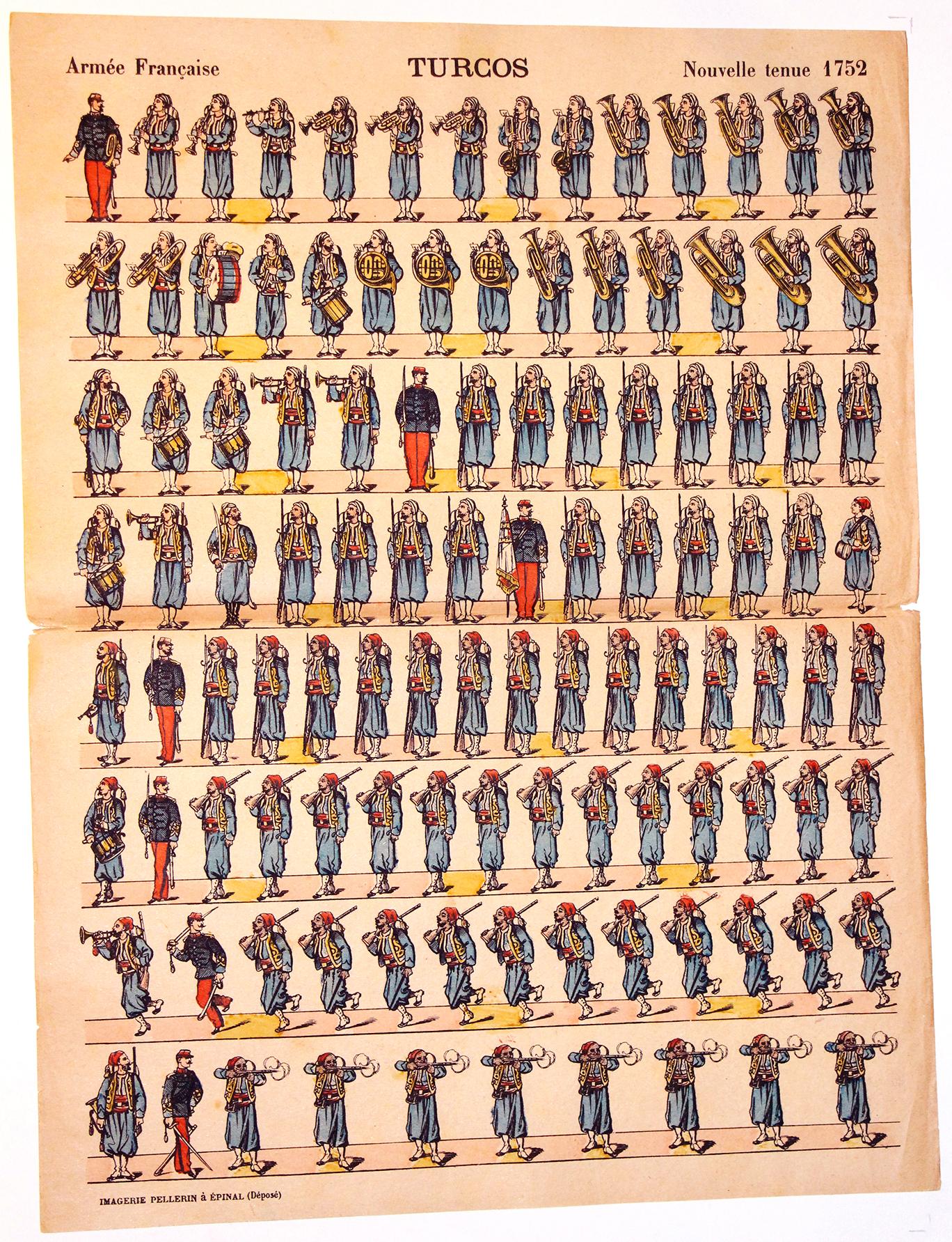 Planche imagerie Epinal - Pellerin Editeur - N°1752 - Turcos - Armée Française