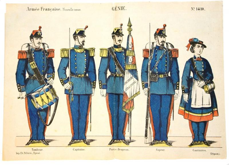 Planche imagerie Epinal - Pellerin Pinot Editeur - N°1410 - Génie - Armée Française