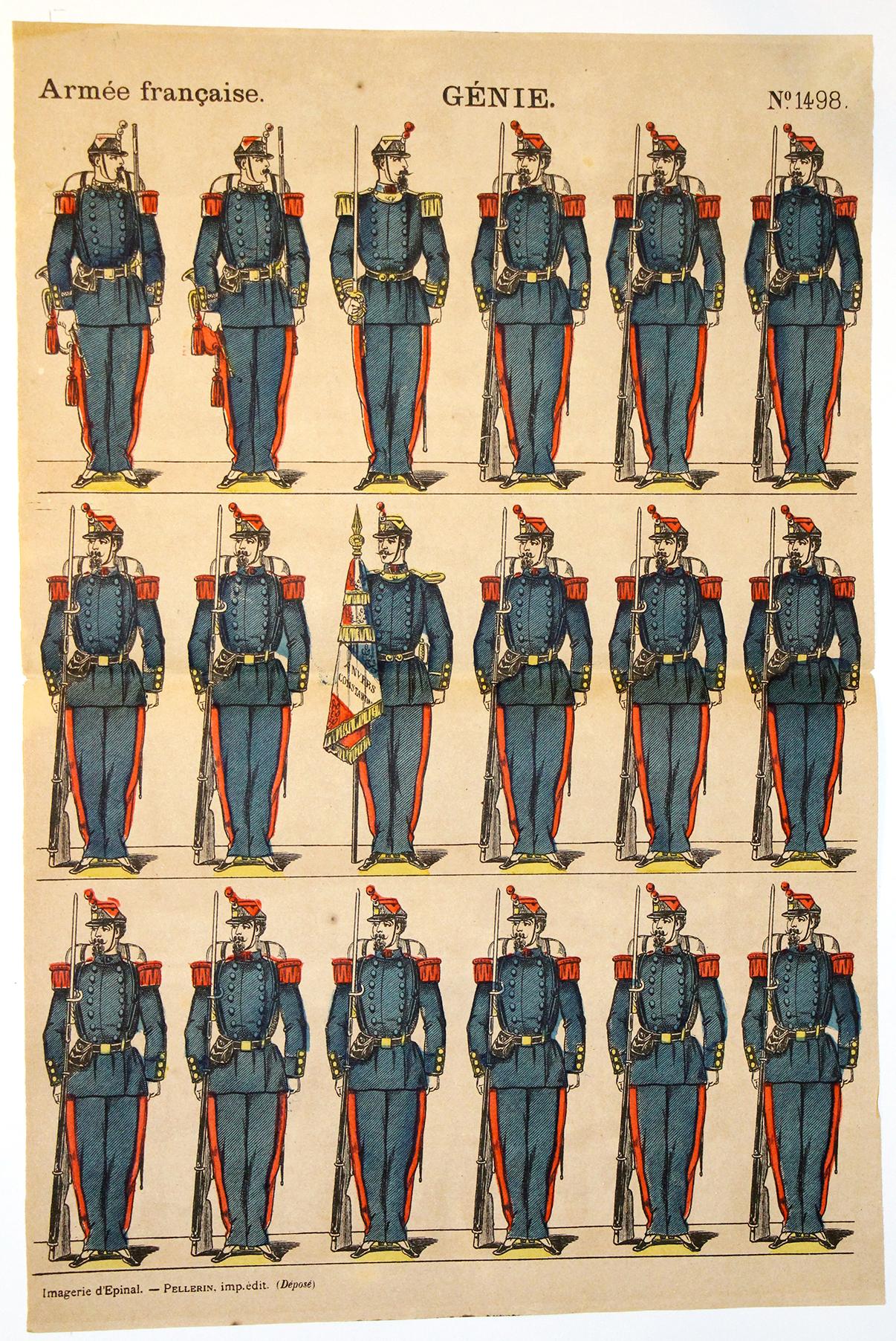 Planche imagerie Epinal - Pellerin Editeur - N°1498 - Génie - Armée Française