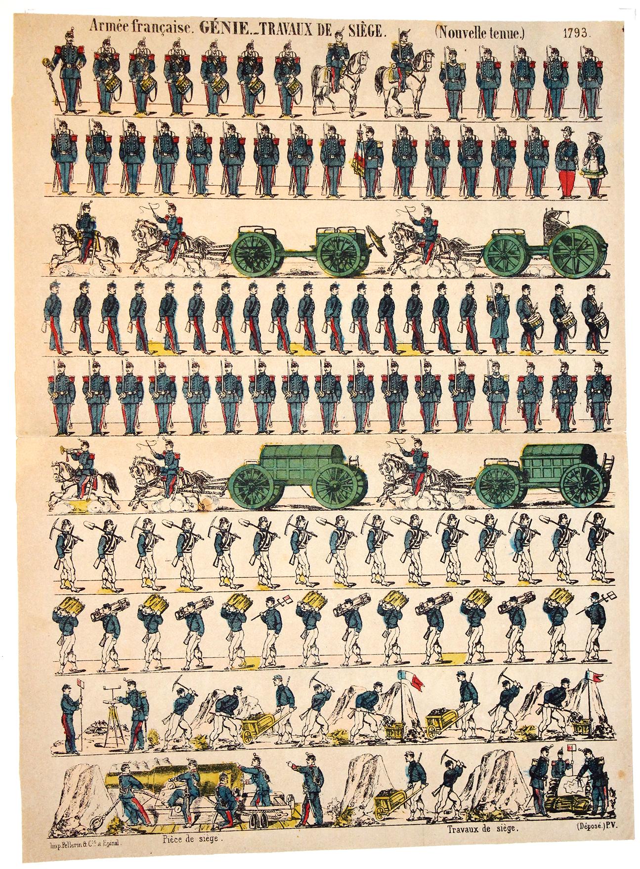 Planche imagerie Epinal - Pellerin Editeur - N°1793 - Génie - Armée Française - Travaux de siège