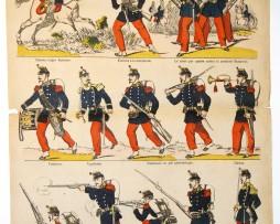 Planche imagerie Epinal - Pellerin Editeur - N°1497 - Infanterie en tirailleurs - Armée Française