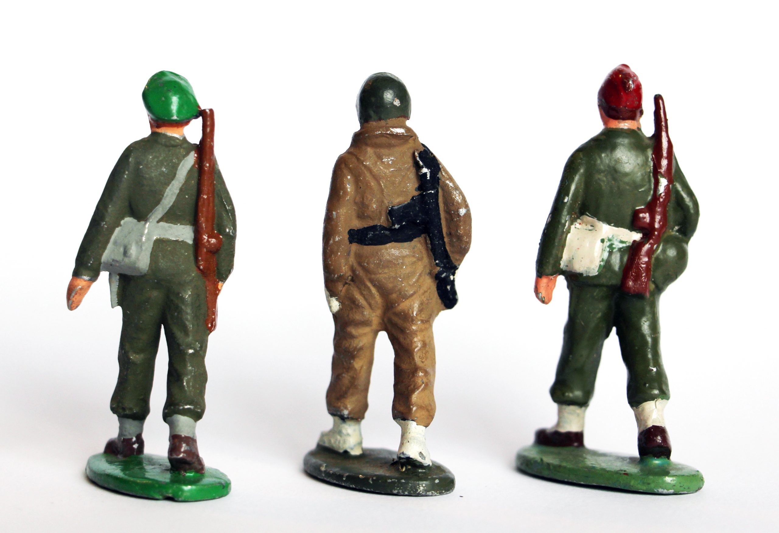 3 Figurines Quiralu Infanterie - 2nd Guerre Mondiale - Repeintes