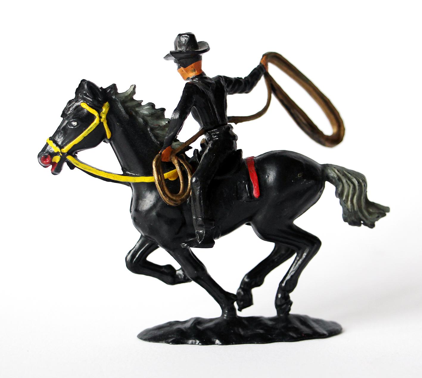 Ancienne Figurine Cofalu France - Zorro à cheval lasso - 1970