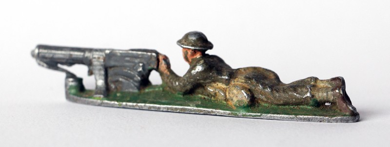 Figurine Quiralu ancienne Infanterie Anglaise 1940 Mitrailleur Couché