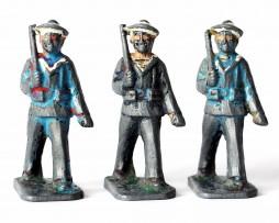 3 Figurines Plomb Ancienne Infanterie Marine