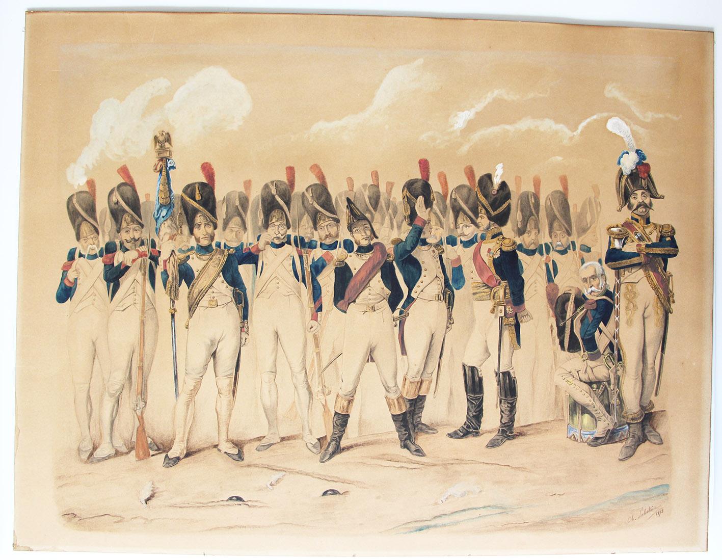 Grand Aquarelle/Dessin originale rehaussé main - Grenadiers de la Garde Impériale 1er Empire -