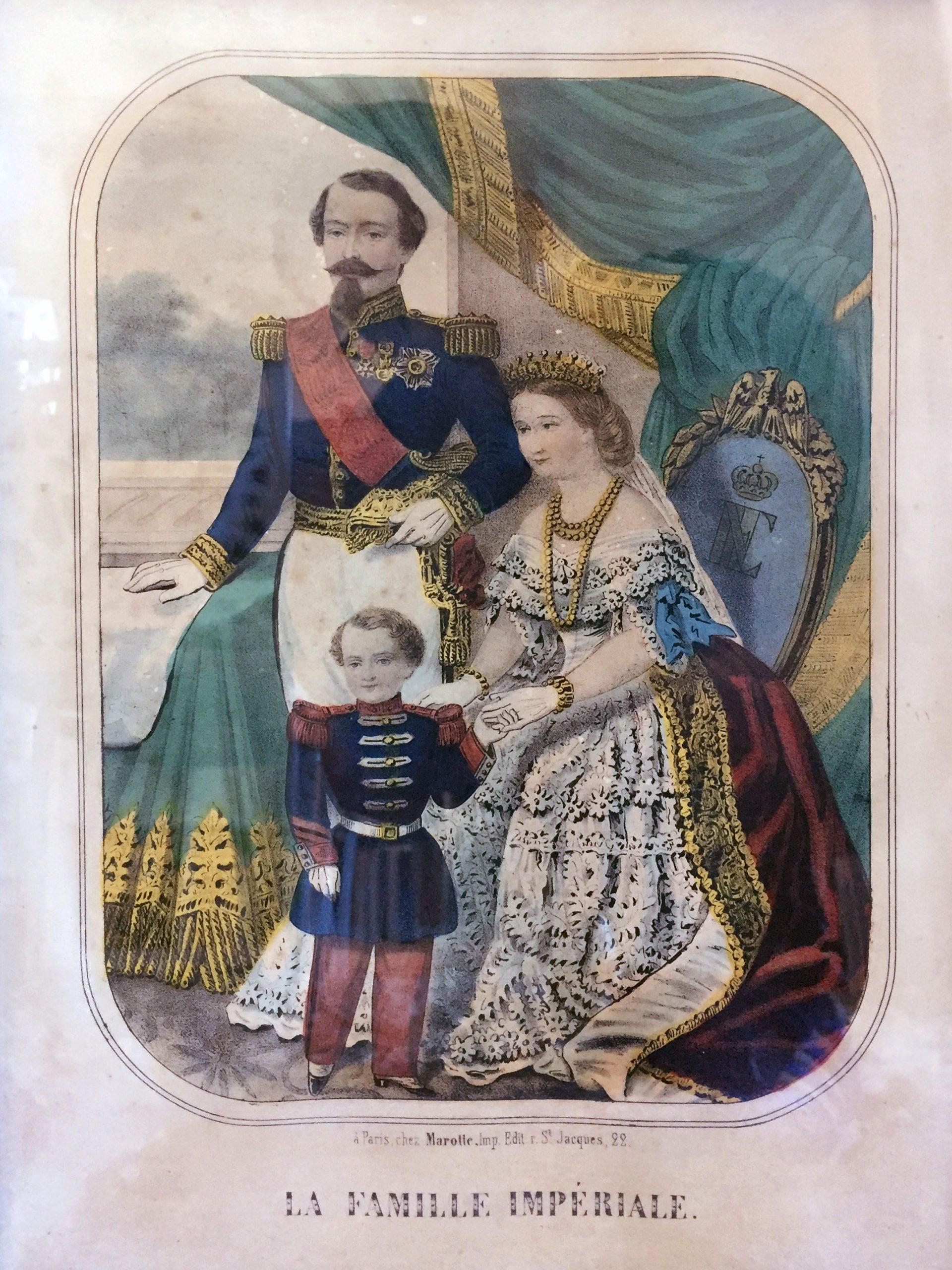 Gravure XIX - Imagerie Populaire - 2nd Empire - Famille Impériale - Napoléon III et Eugénie