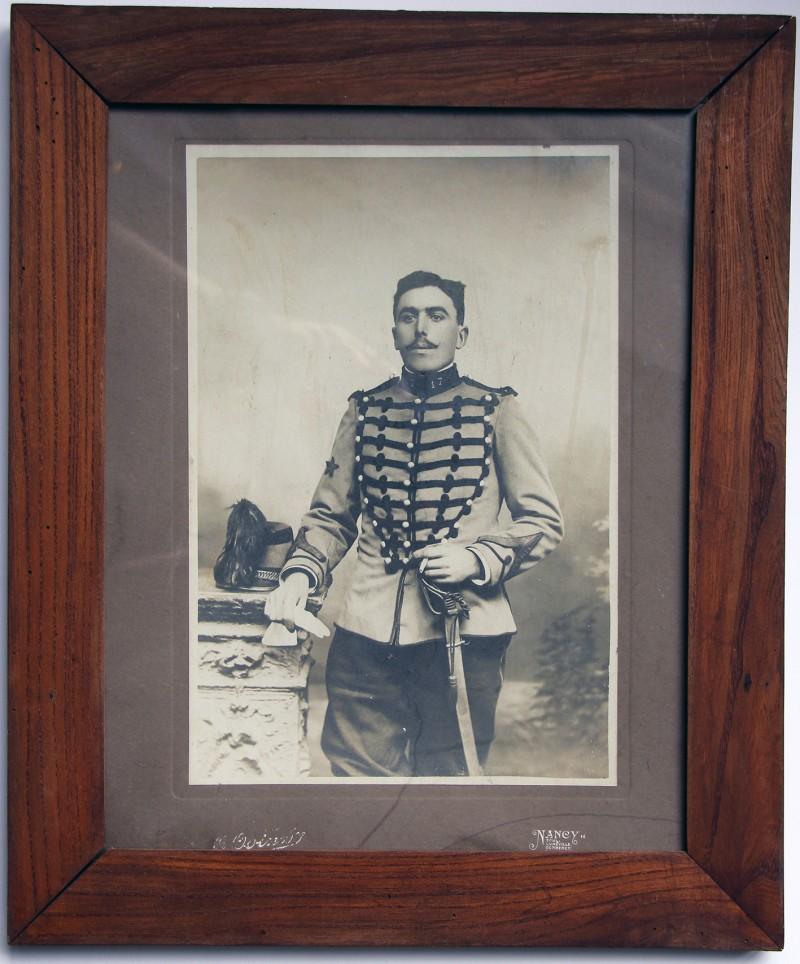 Grande cadre photographique - Militaire tenue - Uniforme Chasseur à Cheval fin XIX -Nancy