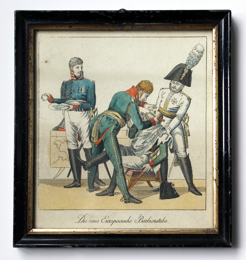 Gravure satirique XIX Napoléon rasé par les alliés.