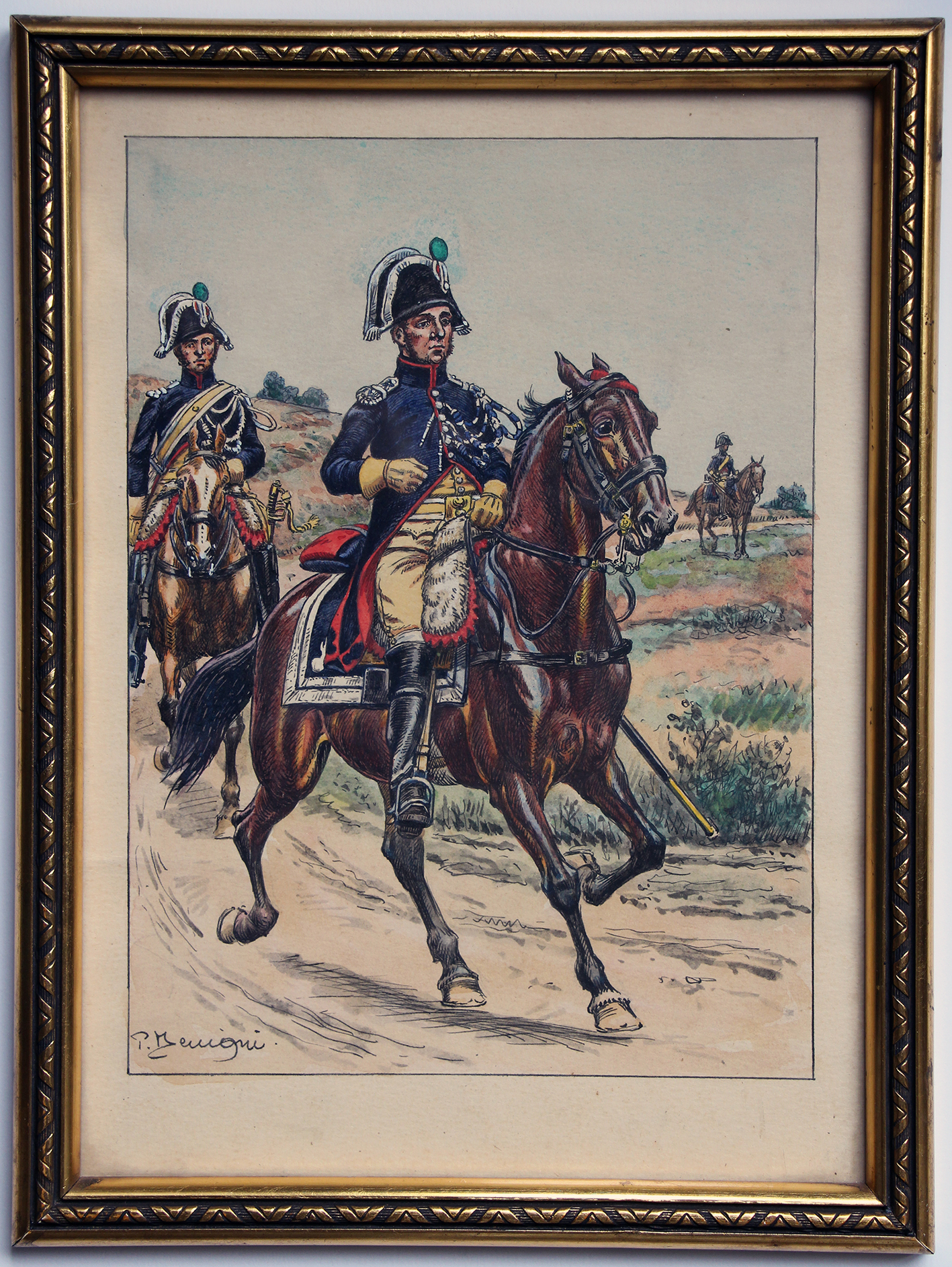 Dessin original rehaussé - Gendarmerie d'Elite - Pierre Bénigne 1801-1803 - Les Uniformes de la Garde Impériale - 1er Empire