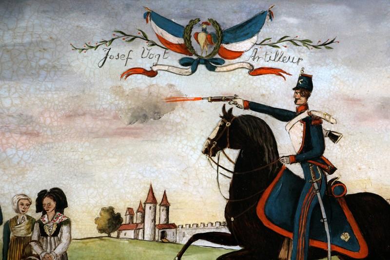 Peinture originale Naif - Peint sous verre - Artillerie Alsace -
