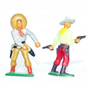 Figurines Ancienne Starlux - Cowboy - Duel - Campement