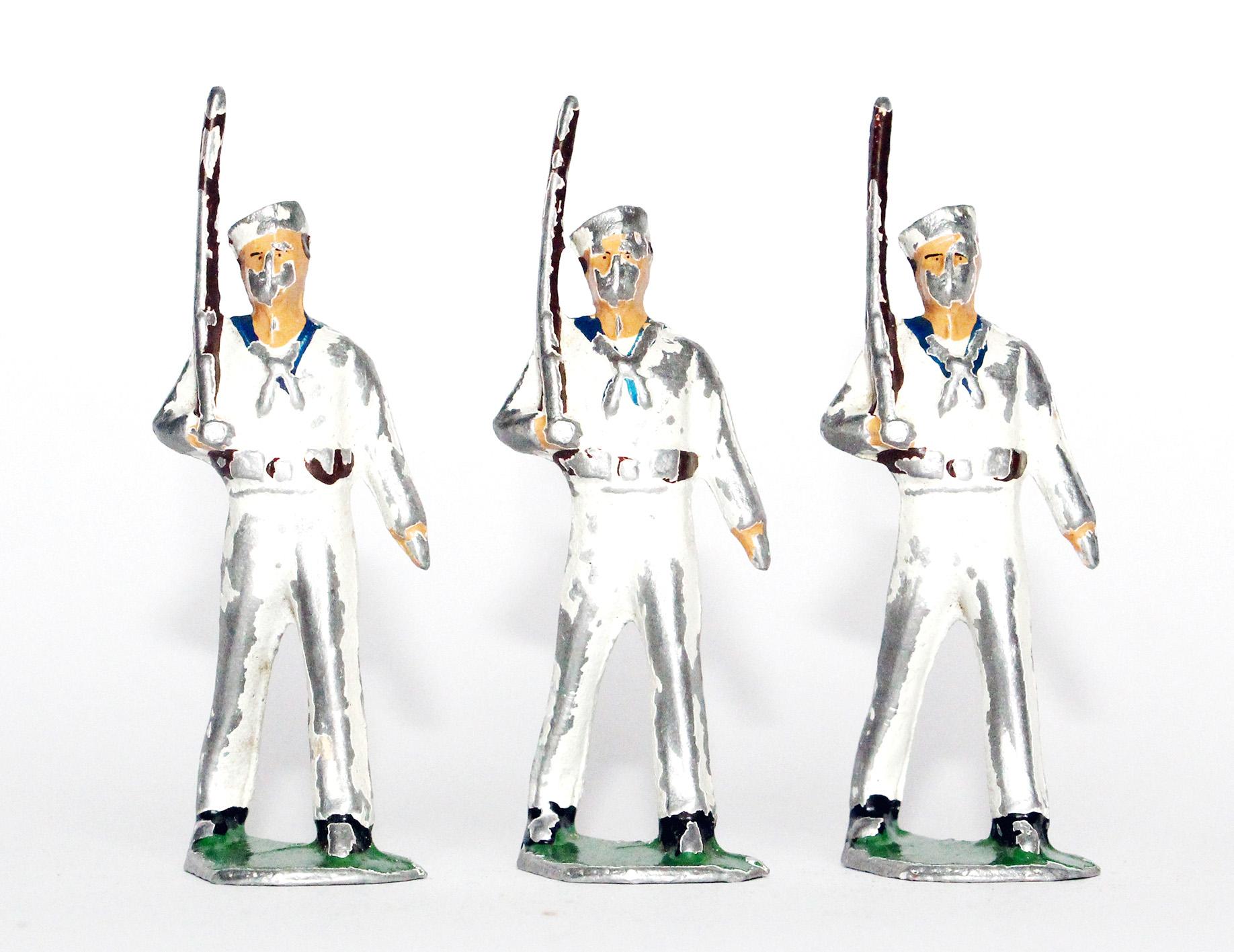3 Figurines Aluminium ancienne Marin Tenue Blanche Navire Us Navy