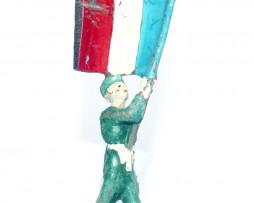 Figurine Ancienne Plastique - Année 50/60 - Militaire Porte Drapeau Défilé