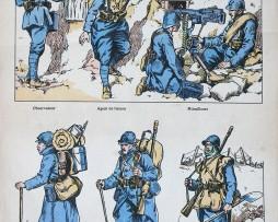 Planche Imagerie Jarville Nancy - Armée Française - Les poilus de la Grande Guerre 1914/1918
