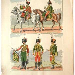 7 Gravures H.LARGE - Uniformes Armée Française Second Empire