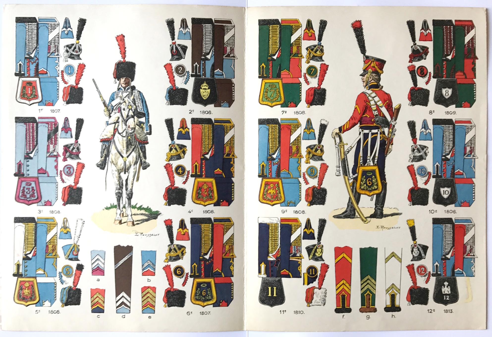 Planche sur l'armée Française N°57 - Hussards Généralités 1804/1812 - Lucien Rousselot 1947