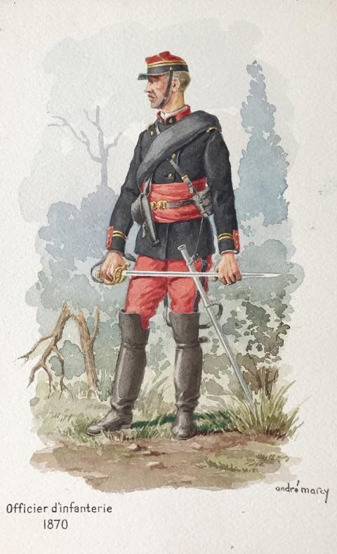 André Marcy Aquarelle militaire uniforme armée française