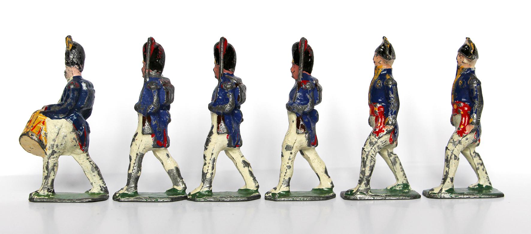 6 Anciennes Figurines Plomb Creux année 50/60 - Garde Impériale 1er Empire - Défilé