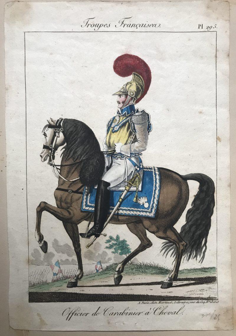 Gravure XIX - Martinet - Troupes française - Carabiniers à Cheval - Officier