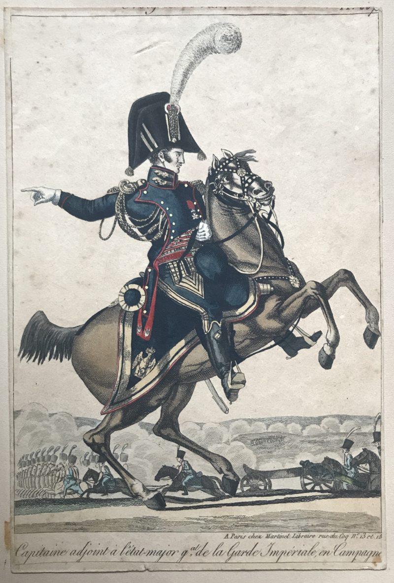 Gravure XIX - Martinet - Troupes française - Capitaine Adjoint Etat Major de la Garde Impériale