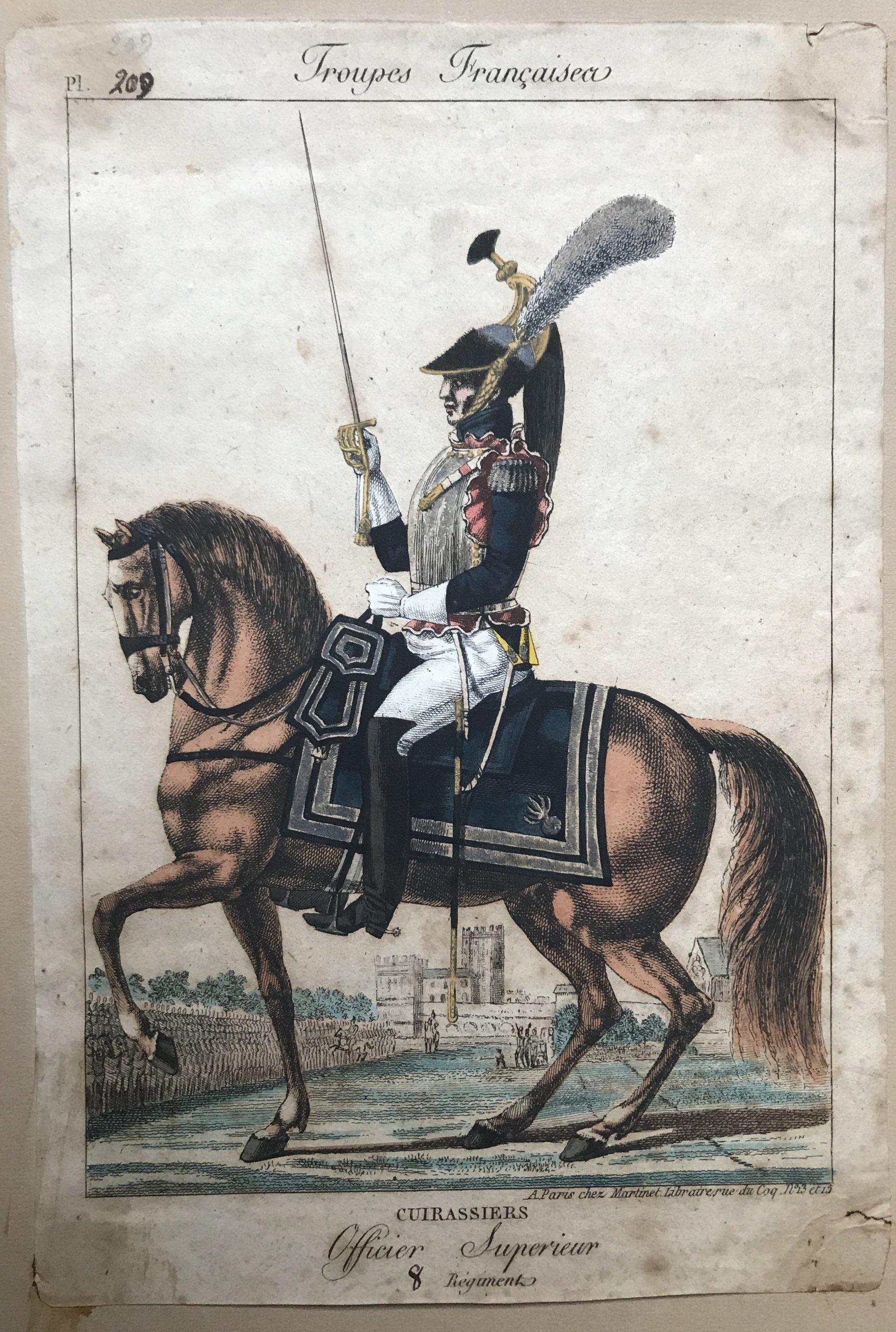 Gravure XIX - Martinet - Troupes française - Cuirassiers - Officier supérieur.