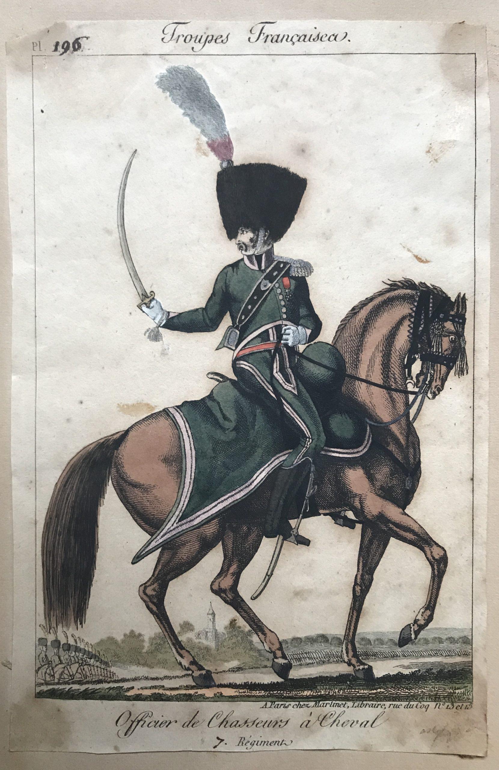 Gravure XIX - Martinet - Troupes française - Officier des Chasseurs à Cheval