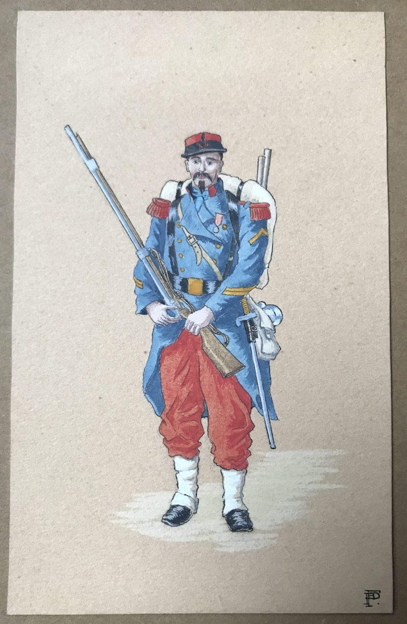Infanterie Second Empire Dessin Original Peinture