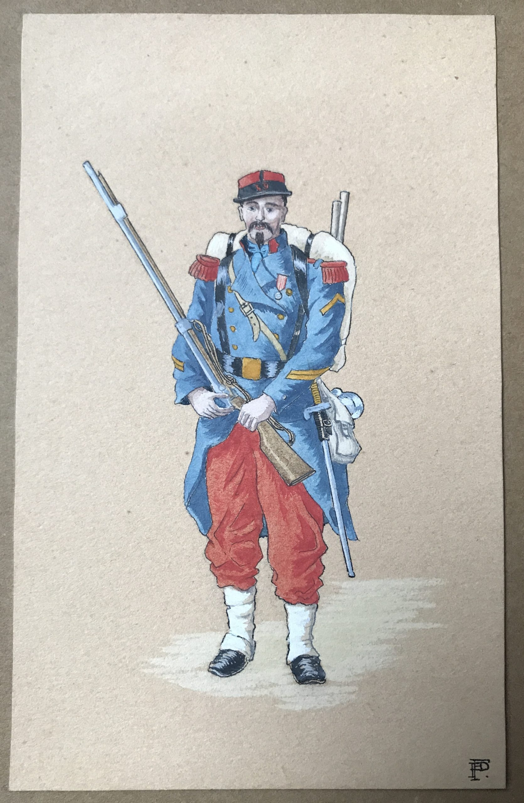 Infanterie Second Empire Dessin Original Peinture