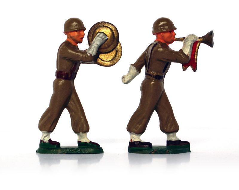 9 Figurines Starlux - Infanterie - Défilé - Musique - France
