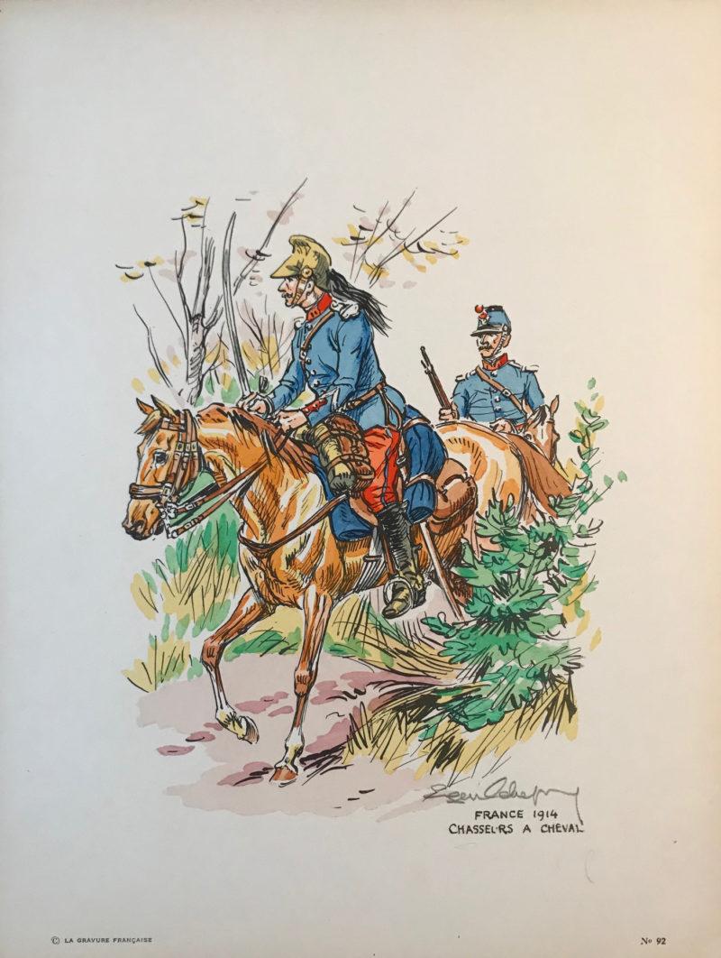 Eugène Leliepvre - France 1914 - Chasseurs a Cheval - La gravure Française