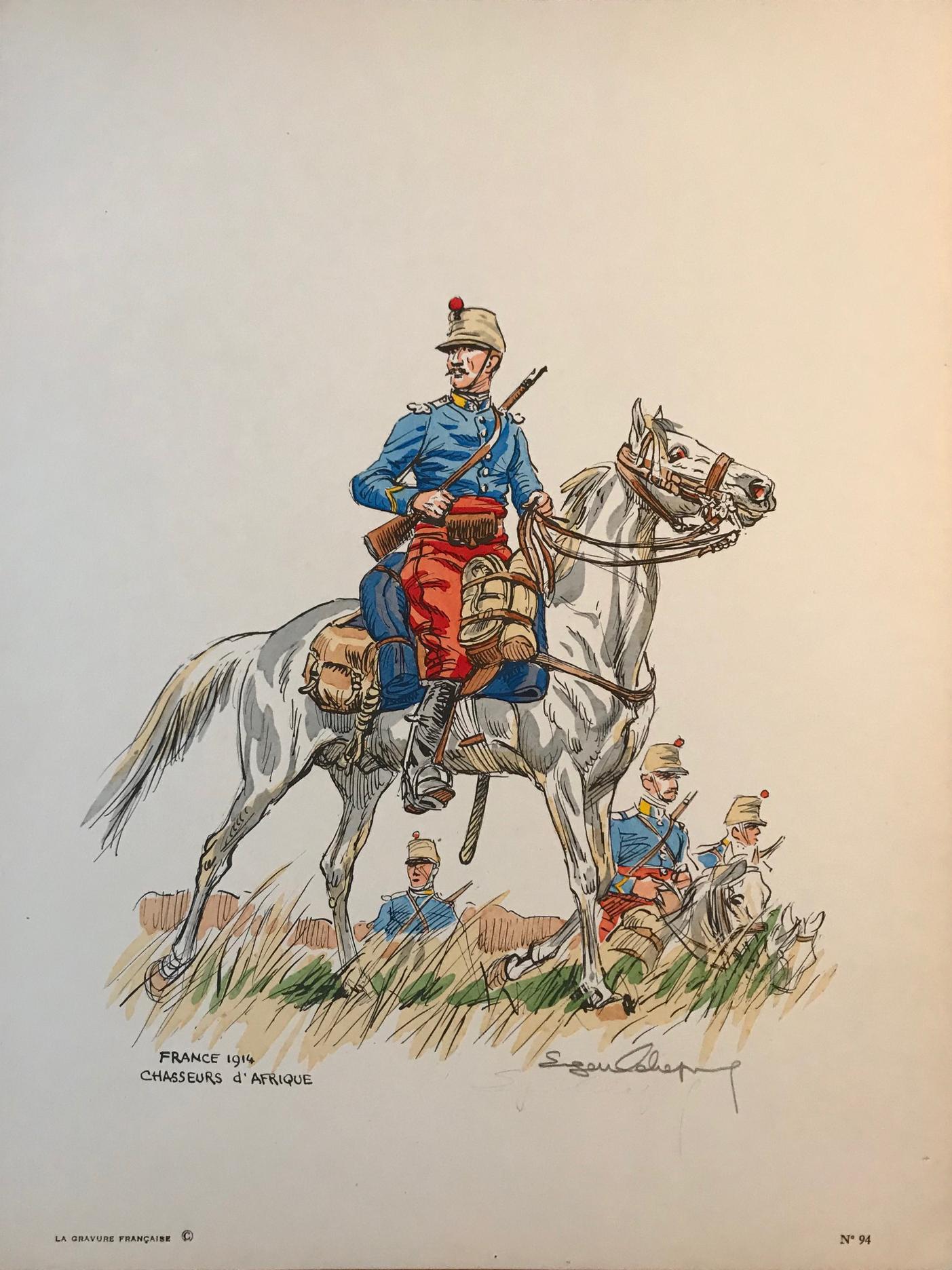 Eugène Leliepvre - France 1914 - Chasseurs d'Afrique - La gravure Française