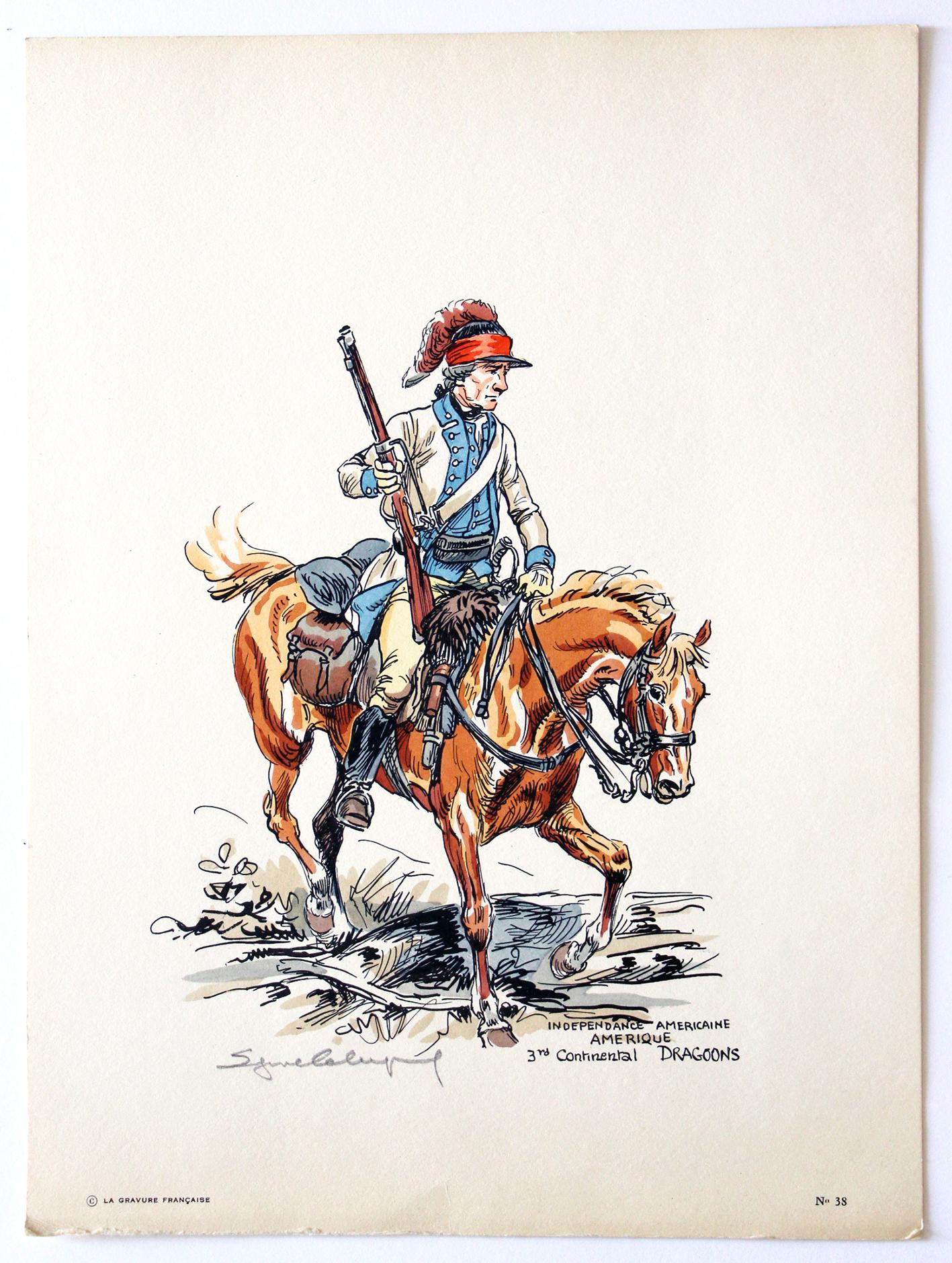 Eugène Leliepvre - Guerre d'Amérique - Dragoons - La gravure Française