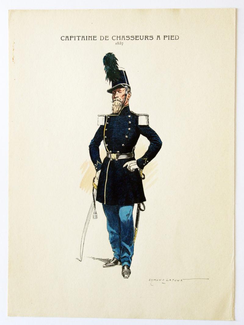 Chasseur à Pied 1837 - Capitaine des chasseurs a Pied - Edmond Lajoux - Uniforme 1835