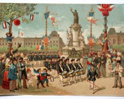 Gravure Chromolithographie XIX - Défilé des Jeunes Enfants Bataillon Scolaire 1882 - République - La revanche