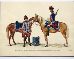 COLONEL DUGUÉ MAC Cathy - Planche Uniforme Maison du Roy - Tabour et Grenadier de la Compagnie des grenadiers à Cheval - 1745