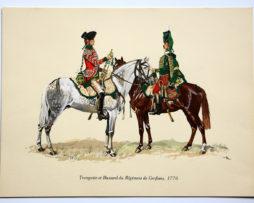 COLONEL DUGUÉ MAC Cathy - Planche Uniforme Trompette et Hussard de Conflans 1776