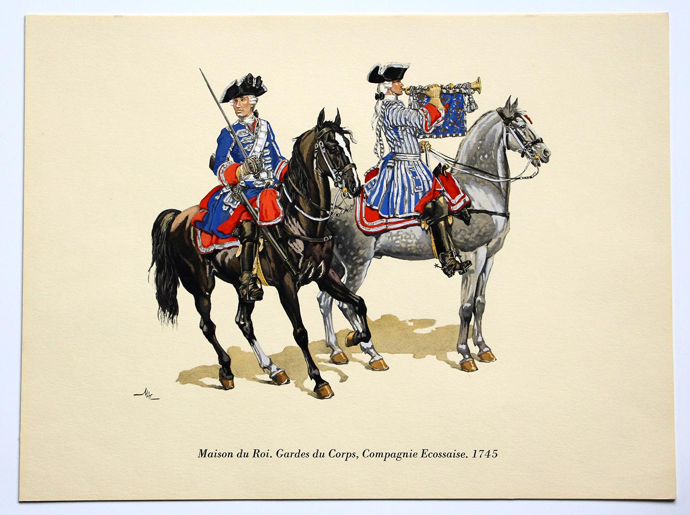 COLONEL DUGUÉ MAC Cathy - Planche Uniforme Maison du Roy - Gardes du Corps - Compagnie Ecossaise - 1745