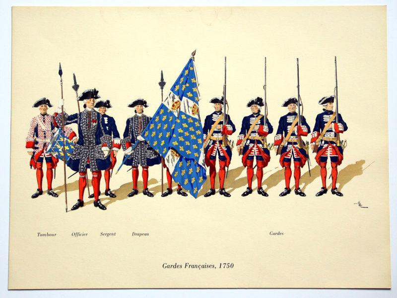 COLONEL DUGUÉ MAC Cathy - Planche Uniforme - Gardes Françaises - 1750
