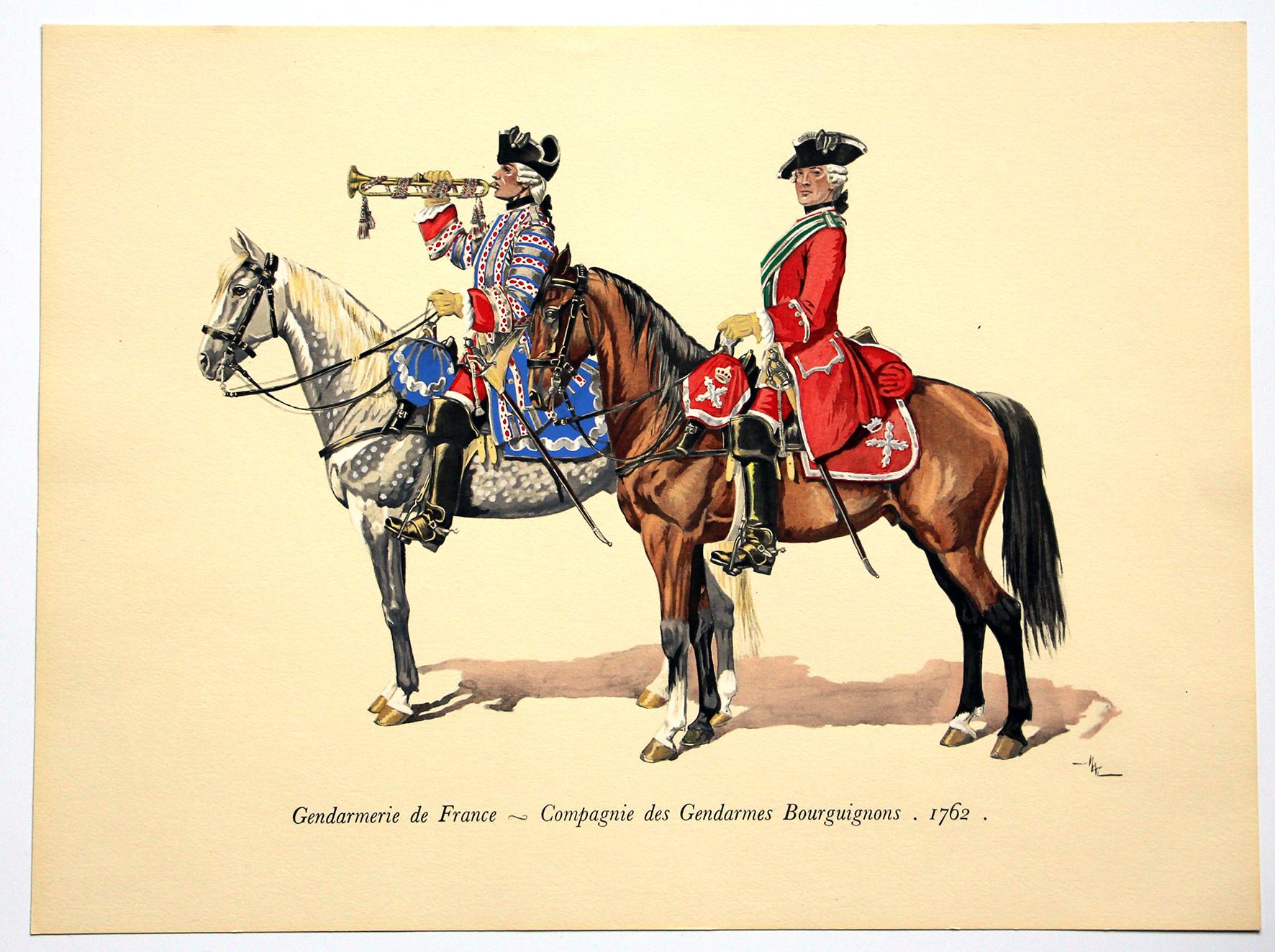 COLONEL DUGUÉ MAC Cathy - Planche Uniforme - Gendarmerie de France - Compagnie des Gendarmes Bourguignons - 1762