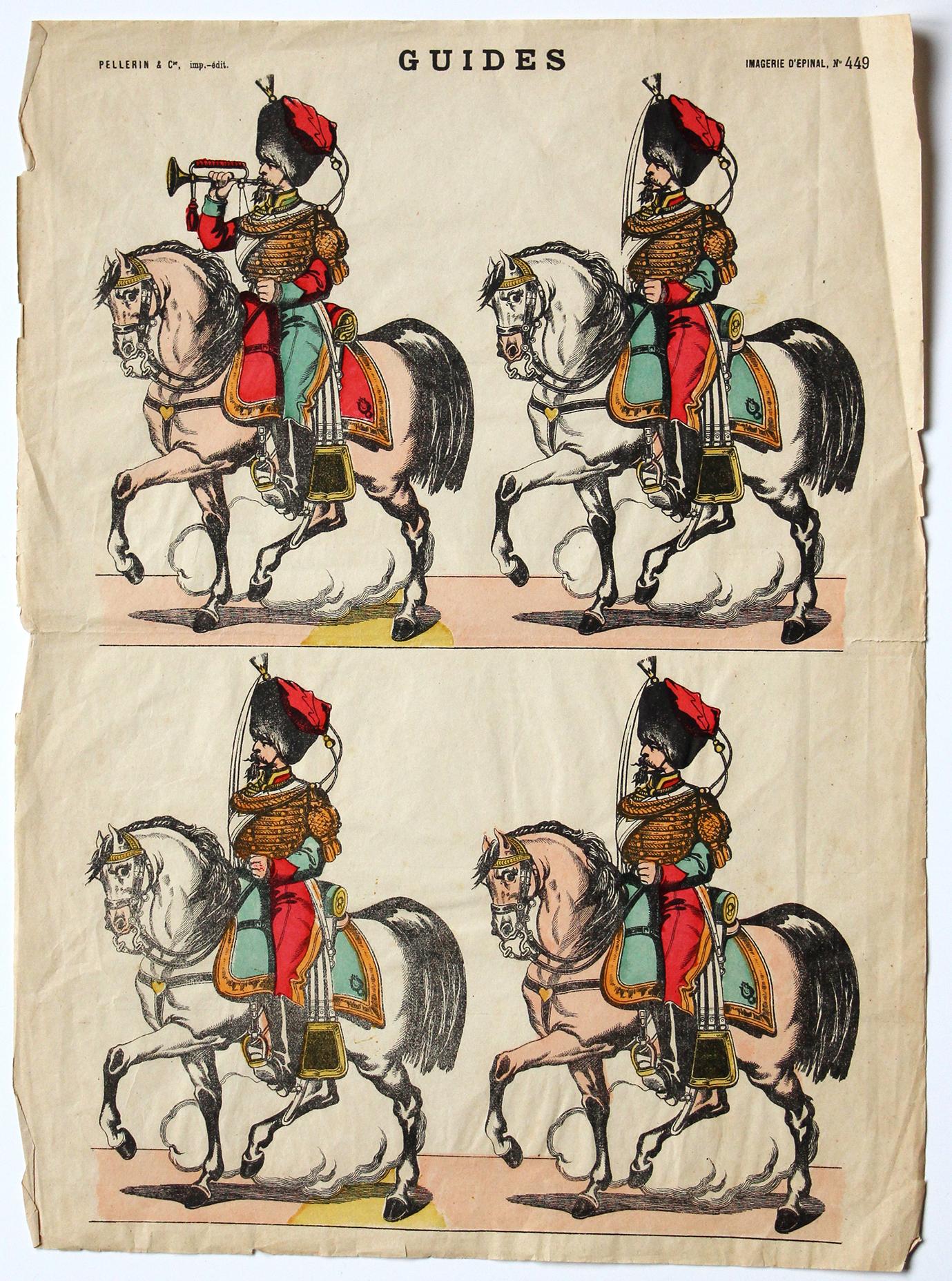 Planche imagerie Epinal - Pellerin Editeur - N°449 - Guides de la garde Impériale - Second Empire - Armée Française