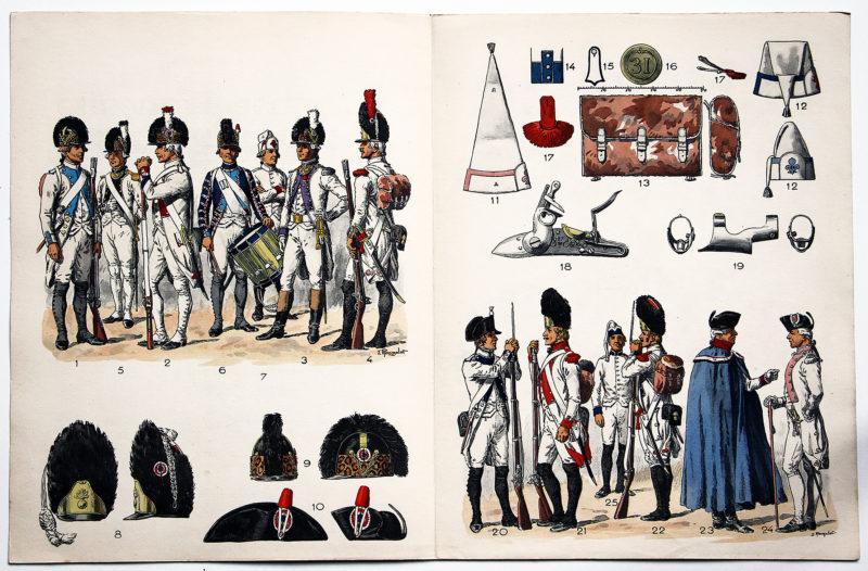 Planche sur l'armée Française N°21 - Infanterie Française Instruction 1791 - Lucien Rousselot (Copie)
