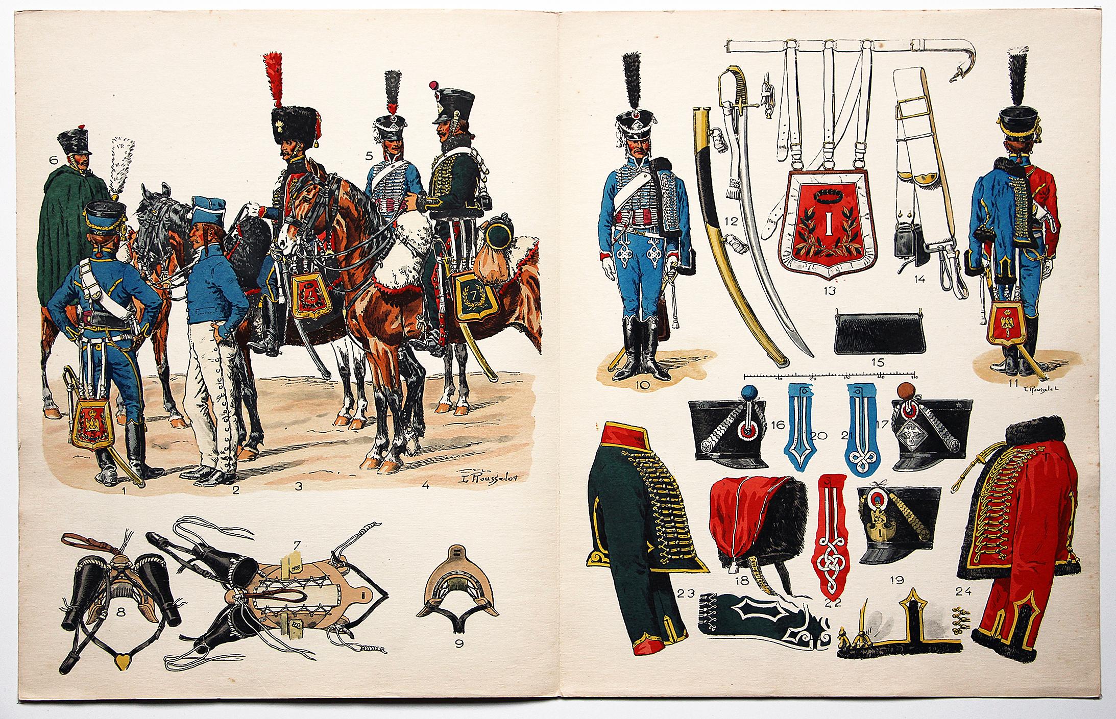 Planche sur l'armée Française N°22 - Hussards Généralités 1804-1812 - Lucien Rousselot